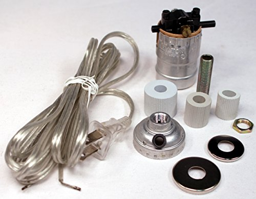 Creative Hobbies Silver Finish Bottle Lamp Adapter Kit with 3 Rubber Adaptors for Wine, Liquor Bottles, Jugs and More