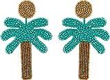 Kenneth Jay Lane Women's 3'' Gold Top/Green Seedbead Palm Tree Post Earrings Gold/Green One Size