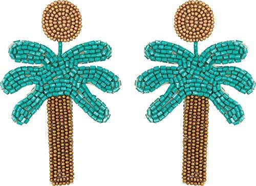 Kenneth Jay Lane Women's 3'' Gold Top/Green Seedbead Palm Tree Post Earrings Gold/Green One Size by Kenneth Jay Lane