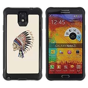 Be-Star único patrón Impacto Shock - Absorción y Anti-Arañazos Funda Carcasa Case Bumper Para SAMSUNG Galaxy Note 3 III / N9000 / N9005 ( Indian Feathers Skull Native American )