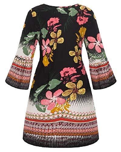 Sodossny-au Womens Imprimé Floral O Mode Cou Style Indien Une Robe De La Ligne 5