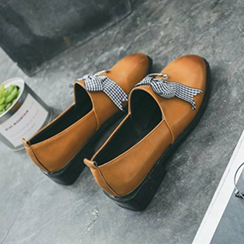 Oxford Femmes Penny Rond Toe Chaussures on Décontracté Plat Mocassins Robe Bowknot Marron Classic Slip rqaqP1