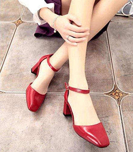 Sommer hochhackige Sandalen mit dicken Schuhen red