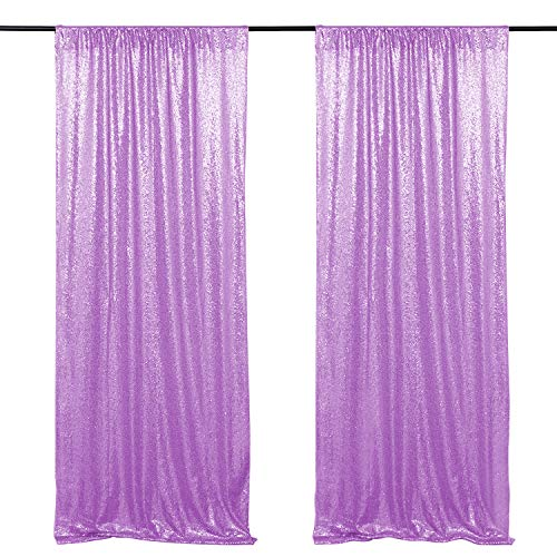 Baby Shower Sequin Backdrop Children Birthday Party Decoration Lavender 2 Pieces 2FTx8FT Sequence Curtain Backdrop