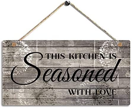 Farmhouse Kitchen Decor Rustic Kitchen Signs Wall Decor Printed Wood Wall Art This Kitchen Is Seasoned With Love Kitchen Wall Decor 11 5 X 6 Decorative Accessories Amazon Com Au