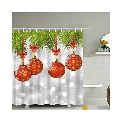 ANAZOZ Cortinas de Baño Bola de Navidad Cortinas Baño Poliéster Cortinas Ducha Impermeables Cortina de Ducha 165x200cm