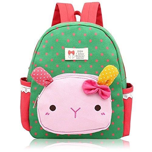 Suerico Cute Rabbit Toddler Backpacks Kids School Bags Children Preschool Lunch Bags (Green) ()