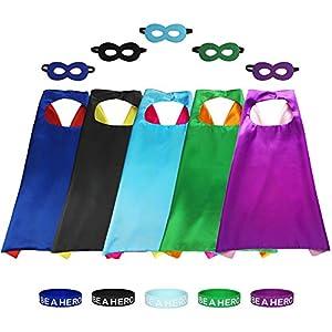 Aimike Superhero Party Dress Up Cape Reversible with Masks & Bracelets for Kids - 51XHIGqlPcL - AIMIKE DIY Drawing Superhero Costumes Party Dress up Cape Reversible with 5 Masks and Bracelets for Kids