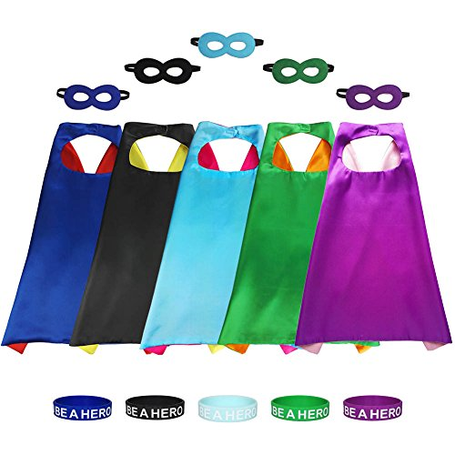 Aimike DIY Drawing Superhero Costumes Party Dress Up Cape Reversible with 5 Masks and Bracelets for Kids