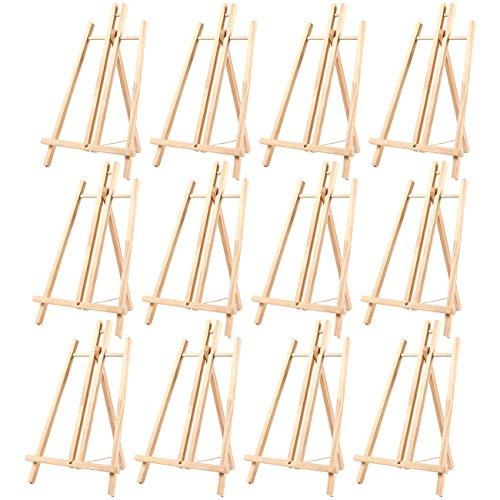 - 12-Pack of Tabletop Easels - Wood Easel, Mini Easels for Tabletop Painting, Standing Easel, Brown - 9 x 14.8 Inches
