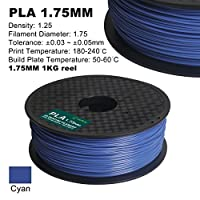 Century 3D PLA Printer Filament 1.75mm 1kg spool 2.2 pounds Dimensional Accuracy +/- 0.05 mm (Cyan) from Century Products