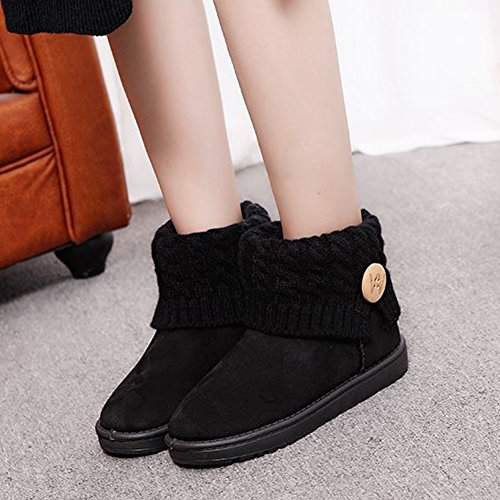 Boot Black Pink Decoration Black Winter Boot Mid in Snow White Women's Plush Flat BERTERI Fashion Knitted Calf Lining wAXT46xq