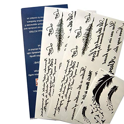 Kotbs Temporary Tattoos Paper Lovely English Words & Feather Designs Body Art Make up for Women Fake Tattoo Sticker (2 Sheet Pack)