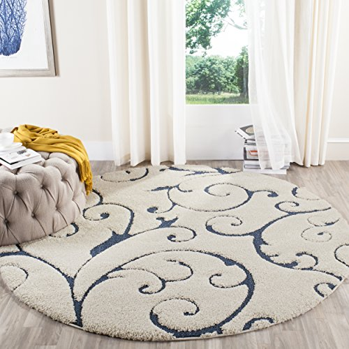 Safavieh Florida Shag Collection SG455-1165 Scrolling Vine Cream and Blue Graceful Swirl Round Area Rug (6'7