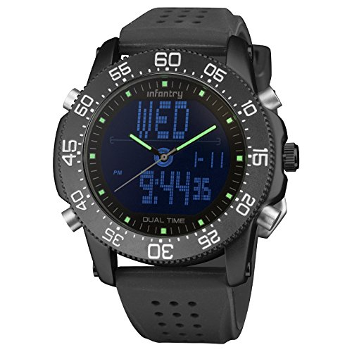 Price comparison product image INFANTRY Waterproof Black Sports Watch for Men,  LED Military Analog Digital Outdoor Silicone Strap