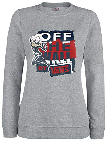 Vans Women's X Marvel Captain Marvel Crew Sweatshirt in Grey Heather (Large)