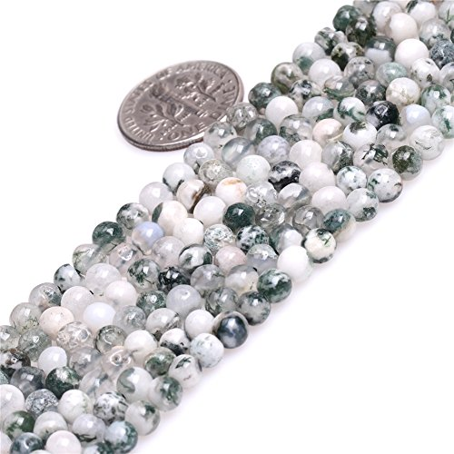 - JOE FOREMAN 4mm Green Moss Tree Agate Semi Precious Gemstone Round Loose Beads for Jewelry Making DIY Handmade Craft Supplies 15