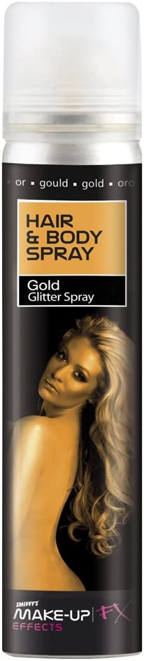 Smiffy's-37795 Spray para Pelo y Cuerpo, Dorado, Brillantina, envase 75ml, Color Oro, No es Applicable (37795)