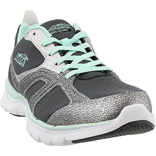 Avia Women's Cube Running Shoe, Steel Grey/Chrome Silver/Sea Green, 11 M US by Avia