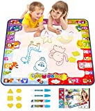 KIZZYEA Water Doodle Mat,Kids Toys Large Aqua Drawing Mat Toddlers Painting Board with Neon Colors,Gifts for Girls Boys Age 2 3 4 5+ Year old,30'' X 30'',4 Pens,Drawing Molds and Booklet Included