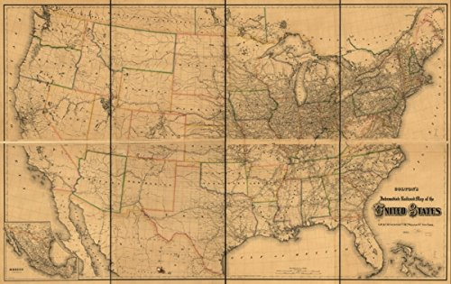 Map  1882 Coltons Intermediate Railroad Of The United States  Detailed Of The Continental United States And Part Of Canada Indicating Drainage  International  State And County Boundaries  Cities And