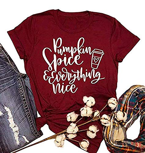 - ALLTB Thanksgiving Pumpkin Spice and Everything Nice Latte T Shirts Womens Letter Printed Fall Graphic Tee Shirt Tops