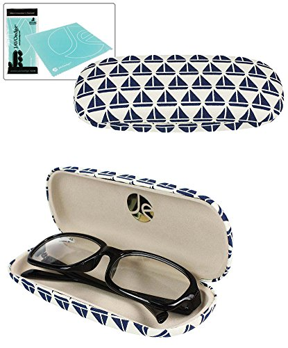JAVOedge Blue Sailboats Print Fabric Eyeglasses Clam Shell Style Case with Bonus Mircofiber Glasses Cleaning Cloth