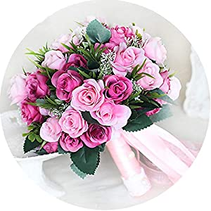 Pink New Bridesmaid Wedding Bride Bouquet Romantic Wedding Bouquet Flower Brides Wedding Accessories 59