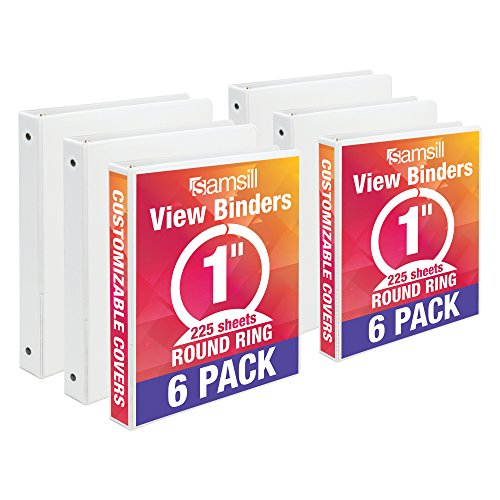 Samsill Economy 3 Ring View Binders, 1 Inch Round Ring, Customizable Clear View Cover, White, Bulk Binders - 6 Pack