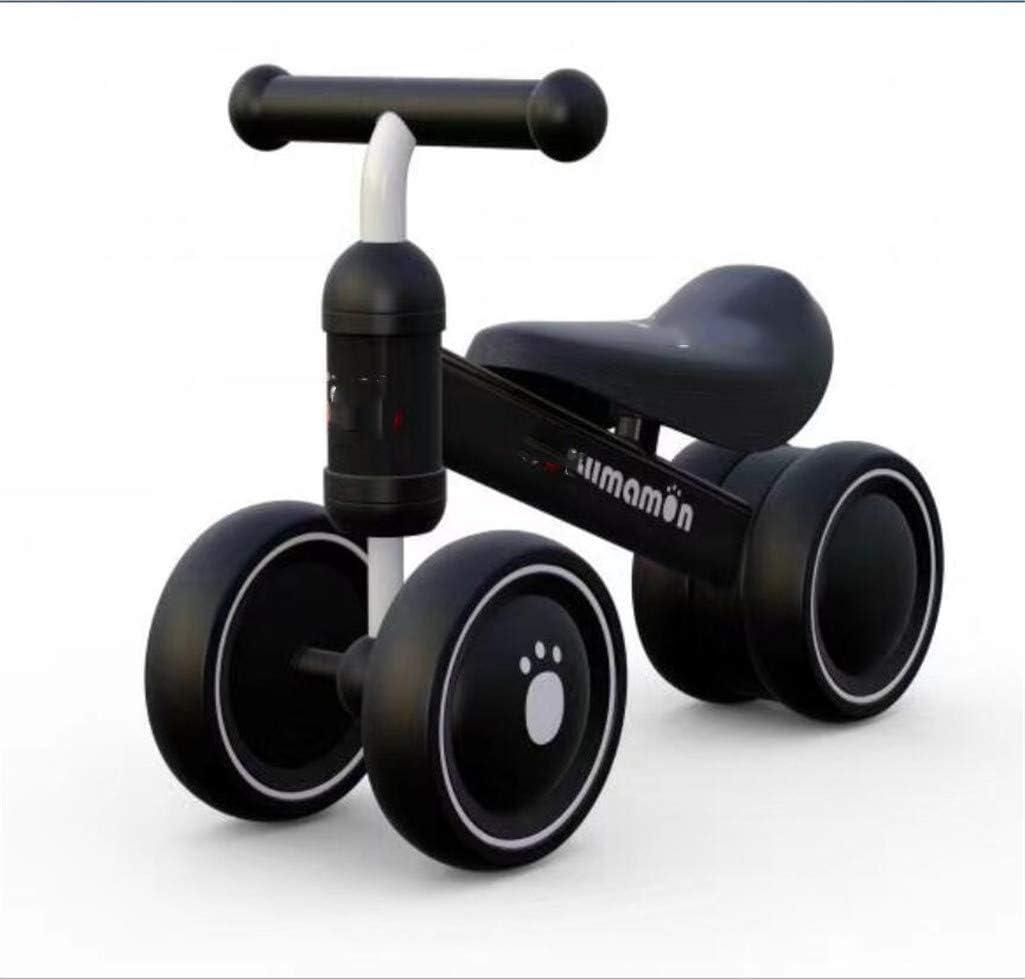 MYMAO 01Bebé Equilibrio Bicicleta, Mini Bicicleta niño Walker Juguete niño Bicicleta sin Pedal Interior al Aire Libre conducción Aprendizaje Juguete 1-3 año Viejo niño y niña,Black