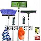 Broom Organizer Wall Mount Mop Holder Organizer With 5 Positions Storage Solution And 6 Hooks For Multipurpose Uses And E-book By TSR