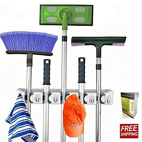 Broom Organizer Wall Mount Mop Holder Organizer With 5 Positions Storage Solution And 6 Hooks For Multipurpose Uses And E-book By TSR by TSR