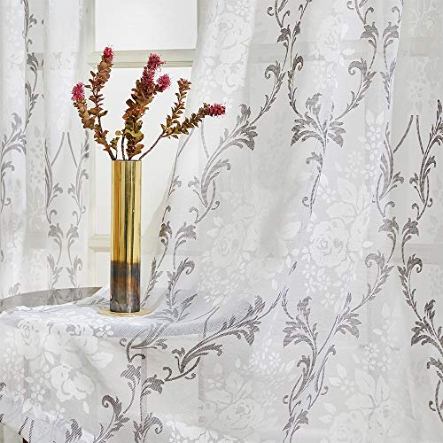 MRTREES Grey Flower Printed Curtains Cotton Blend Sheer Curtain Damask Floral Print Living Room Bedroom Sheers 72 inches Long Paisley Scroll Rod Pocket Window Treatment, 2 Pieces ()