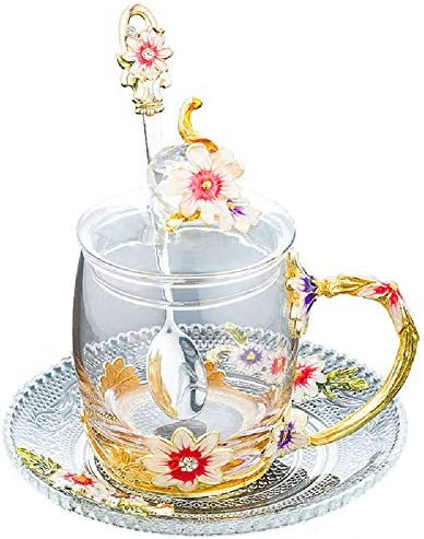 Amazon Com Iamagie Glass Tea Cup Coffee Mug Handicraft 3d Vintage Flower Cup With Lid Coaster And Tea Spoon Unique Daisy Enamel Design Best Gift Decoration 320ml 10 82oz Home Kitchen