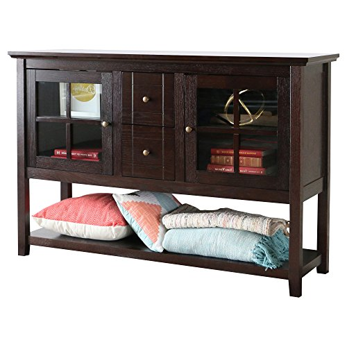 Media Console Table With Storage – Large Glass Doors TV Stand – Entertainment Center or Sideboard – This Piece Of Furniture Is Multipurpose (Espresso) For Sale