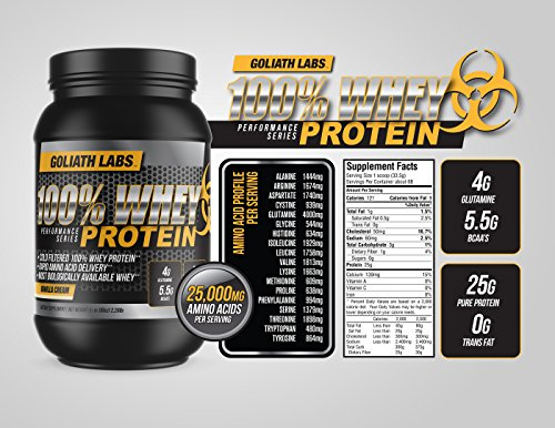 100 Whey Protein Powder 10 lb by Goliath Labs Vanilla