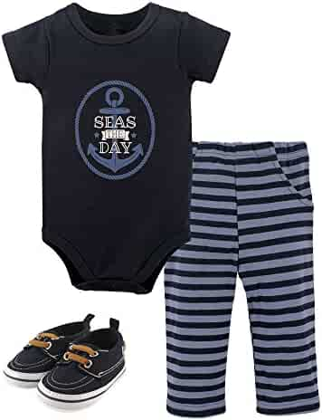 Hudson Baby Cotton Bodysuit, Bottoms and Shoe Set