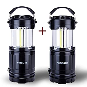 VIBELITE LED Collapsible Portable Outdoor Lantern with Flashlight, Black (Pack of 2)
