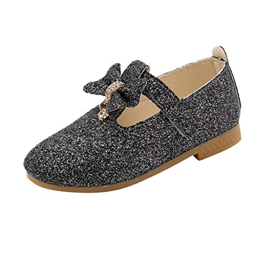 Student Mary Jane FAPIZI Summer Girls Pendant Bowknot Crystal Bling Sequins Shoes Princess Single Shoes Black