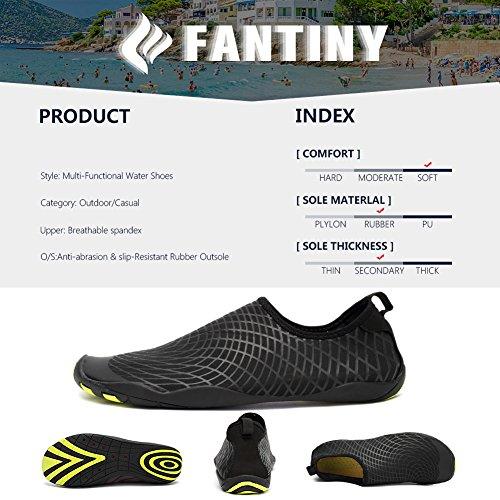 CIOR Men Women's Barefoot Quick-Dry Water Sports Aqua Shoes with 14 Drainage Holes for Swim, Walking, Yoga, Lake, Beach, Garden, Park, Driving,SYY04,w.black,44 5