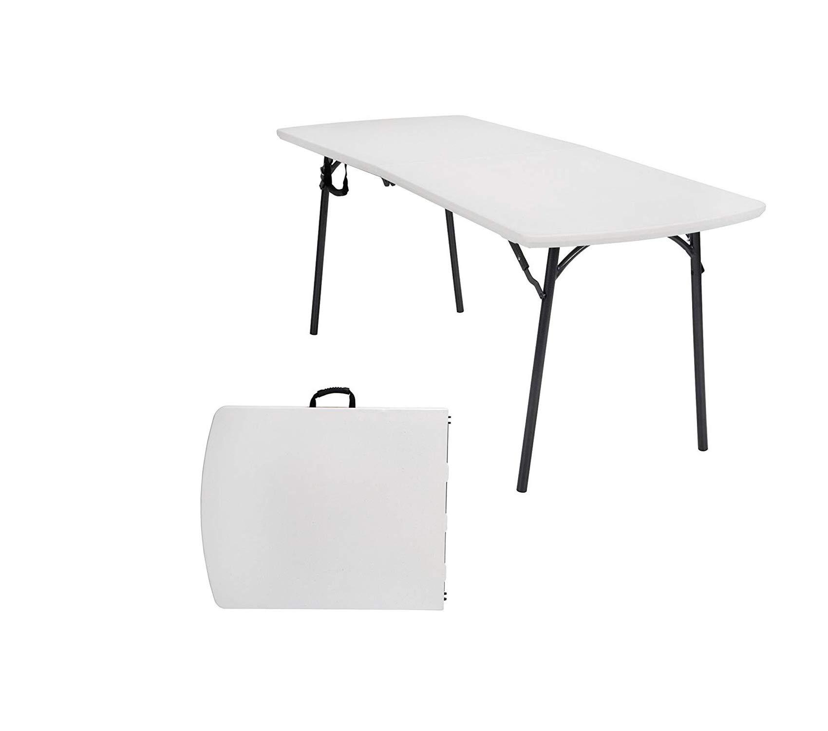 Office Home Furniture Premium Diamond Series 300 lb. Weight Capacity, 6 ft. x 30 in. Fold-in-Half Banquet Table, White Speckle with Hammer Tone Frame