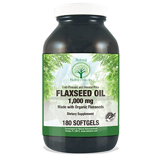 Natural Nutra Organic Cold Pressed Flaxseed Oil With Omega 3 6 9  1000 Mg  180 Softgels