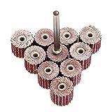 """Dophee 10Pcs 240# Grit Dia 3/8"""" 10mm Sanding Sandpaper Flap Wheel for Dremel Rotary Set"""