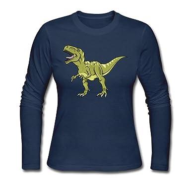 a95b525b Amazon.com: Women's T-rex Dinosaur ComfortSoft Long-Sleeve T-Shirt Cotton  Tee Navy: Clothing