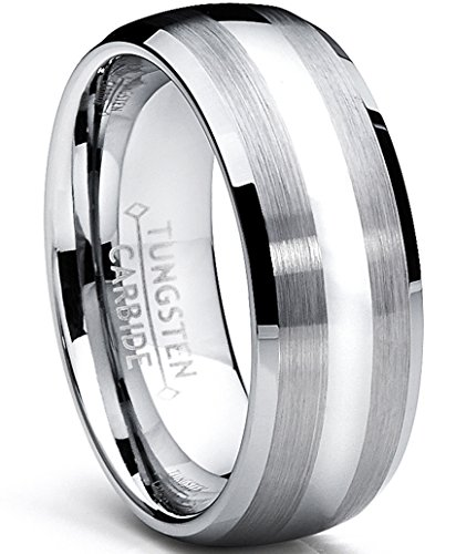 Ultimate Metals Co. 8MM Dome Men's Tungsten Carbide Ring Wedding Band Size...