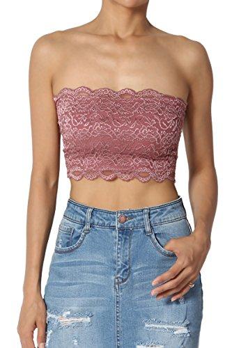 TheMogan Women's Floral Lace Strapless Tube Crop Bandeau Bra Top Dusty Rose M
