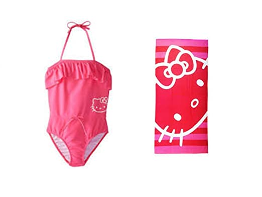 5b6ffe4462 Amazon.com  Hello Kitty Girl s One Piece Halter Swimsuit PLUS Beach ...