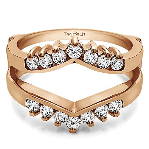 TwoBirch 0.42 ct. Cubic Zirconia Chevron Style Ring Guard with Round Stones in Rose Gold Plated Sterling Silver (3/8 ct. twt.)