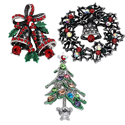 JOVIVI 3pcs Rhinestone Crystal Christmas Brooch Pin Set for Christmas Decorations Ornaments,Wreath, Santa Claus for Party Favors and Gifts - Delivery Santa Christmas Tree Ornament