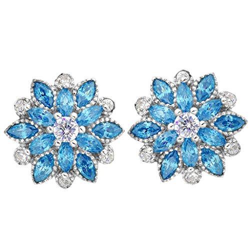 Earrings Engagement Silver (EleQueen 925 Sterling Silver Full Cubic Zirconia Bridal Flower Stud Earrings 15mm Aquamarine Color)